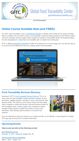 GFTC Newsletter – Fall 2018
